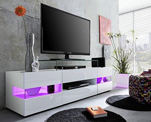 trendteam smart living Wohnzimmer Lowboard Fernsehschrank Fernsehtisch Sonic, 169 x 43 x 43,5 cm in Weiß Hochglanz  ohne Beleuchtung