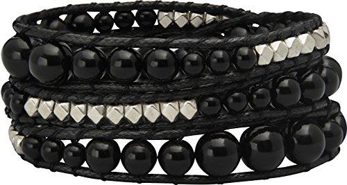 Top Modisches Wickel Damen Armband mit Steinen Modeschmuck Größe verstellbar (3-fach Wickel) (Schwarz) (Seide Top Rose)