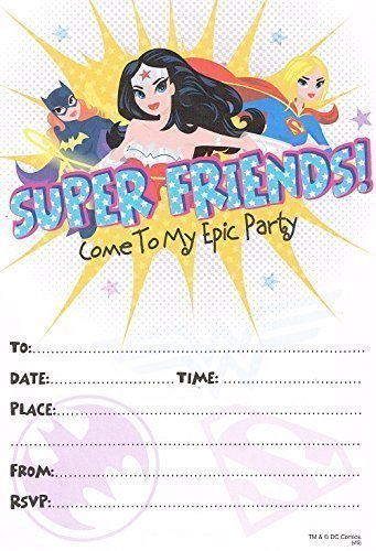 Justice League/ Wonder Woman/ Batgirl Supergirl Party Einladungen, 10 Stück