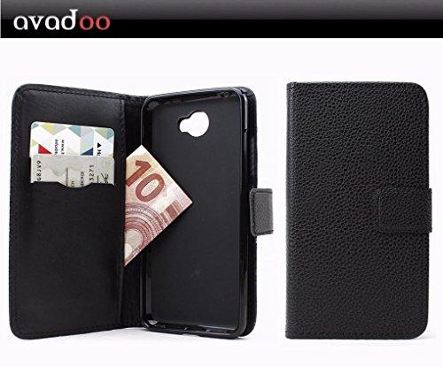 avadoo® Archos 50 Cobalt Flip Case Cover Tasche Schwarz mit Magnetverschluss & Dualnaht als Cover Tasche Hülle