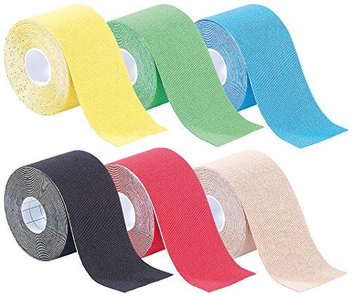 newgen medicals Kinesiology Tape: Kinesiologie-Tapes, Baumwollgewebe, 5 cm x 5 m 6er-Set (Tape Bänder)