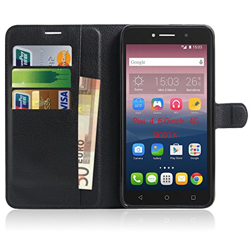 newest a4da2 f0b2c Alcatel Pixi 4 6 inch 4G 9001 Case , Anzhao Premium Faux Leather Wallet  Flip Cover Case With KickStand and Card Slots for Alcatel Pixi 4 6 inch 4G  ...