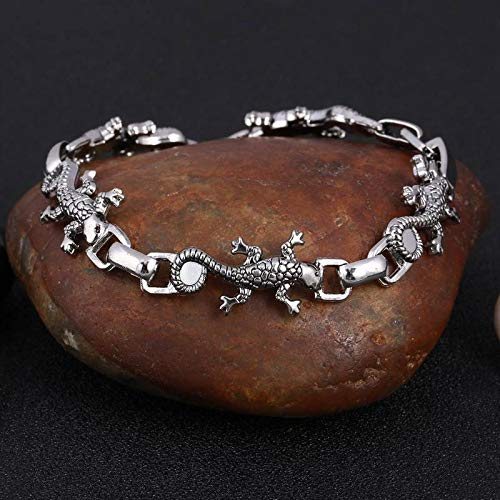 WDAIJY Herren Armband,Echse Armband Edelstahl Ist Cool Männer Stahl Biker Mann Schädel Charms Armband Kette Armbänder & Armreifen