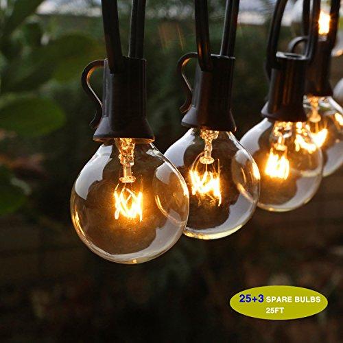 Give U Lichterketten, G40 im Freienschnur-Glühlampen Listed,Outdoor-String Lichter, StarryFairy Lichter für Garten Dekor, Outdoor Dekor (25 Birnen+ 3 Ersatzbirnen) (Dekor Outdoor-deck)