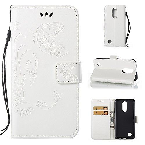 EKINHUI Case Cover Solid Color Faux Leder Bookstyle Brieftasche Stand Case mit geprägten Blumen & Lanyard & Card Slots für LG K4 2017 American Edition ( Color : White ) White