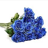 Künstliche Rose Blumen Multicolor Real Touch Simulation Blume für Hochzeit Bouquet Geburtstag Party Dekoration Blumen 10 PCS 45 cm blau