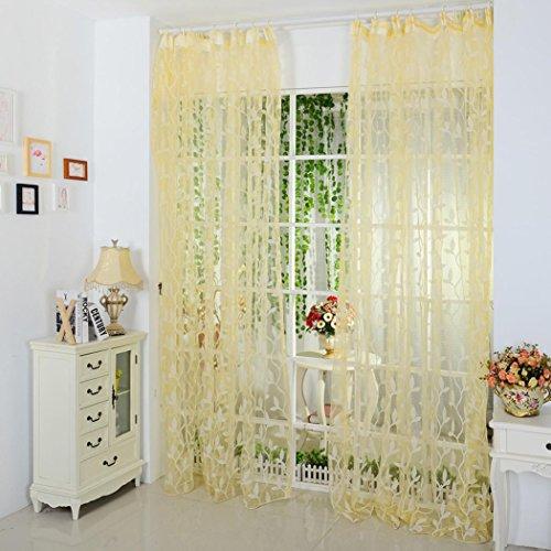 Amlaiworld foglia di puro sipario tulle trattamento finestra voile drappo 1 pannello tessuto (giallo)