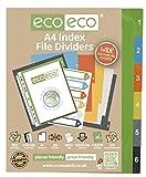 1 Set x 6 pezzi ECO-ECO A4 50%riciclato larga INDEX FASCICOLO CARTELLA PLASTICA DIVISORI