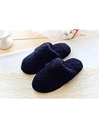 Pequeños campos de otoño/invierno zapatillas respiran dulce simple rombales super suaves felpa interior antideslizantes pantuflas , navy , 38-39