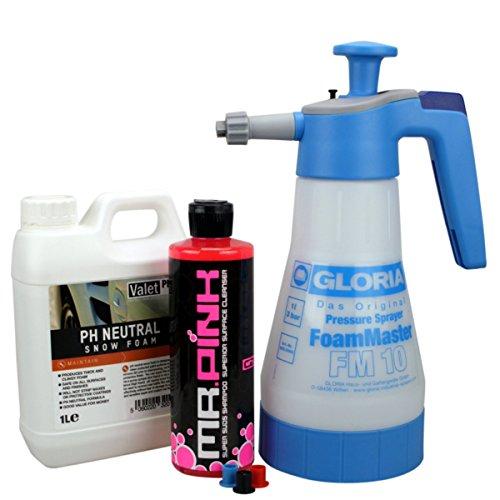 Preisvergleich Produktbild Gloria Foam Master FM10 Schaumsprüher + Chemical Guys Mr pink Shampoo 473 ml + ValetPRO Neutral Snow Foam Shampoo 1 Liter