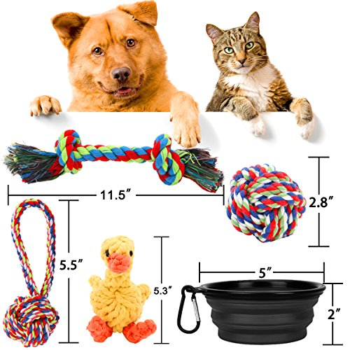 Puppy-Rope-Toys-5-Pack-Rope-Dog-Toys-Set-and-Silicone-Food-Water-Bowl-for-Small-and-Medium-Dogs