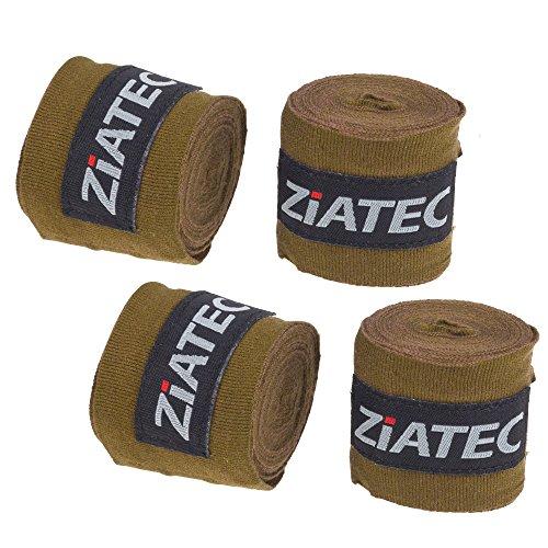 Ziatec (2er, 4er Set Profi Box-Bandagen 3 Meter, Hand Wraps, Boxbandage, Handgelenkbandage, Handbandagen, Wickelbandage mit Daumenschlaufe und Klettverschluss, Farbe:Oliv, Größe:2 Paar…