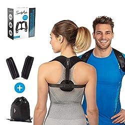 SportyAnis® Geradehalter inkl. Armpolster und Reisebeutel für einen geraden Rücken und zur Haltungskorrektur - Rückenhalter, Rückenstützgürtel, Rückengürtel für Damen und Herren