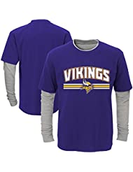 "Minnesota Vikings Youth Jeunes NFL ""Bleachers"" L/S Faux Layer Thermal Shirt Chemise"