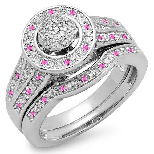 Damen Ring / Ehering 925 Sterling Silber Rosa Saphir Diamant Verlobungsring Ehering Set