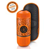 Wacaco Nanopresso Portable Espresso Maker, Upgrade Version of Minipresso, Orange Tattoo Patrol Edition, 18 Bar Pressure,Extra Small Travel Coffee Maker, Manually Operated. Perfect for Tiny Kitchen and Office use