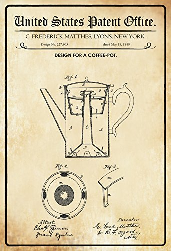 US Patente - Design for a Coffee Pot - Entwurf für ein Kaffeekanne - Matthes, New York, 1880 -...