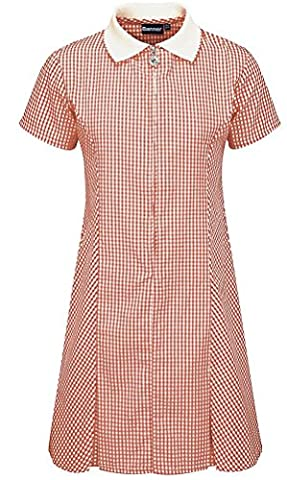 Gingham Dress with Pleats (11/12, Red)