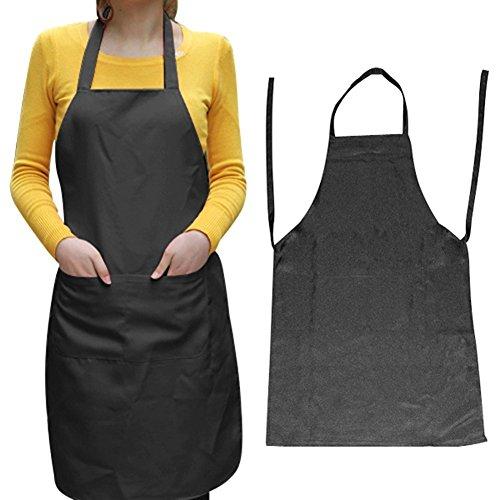 SODIAL(TM) Unisexe Tablier de cuisine Noir Une mesure moy