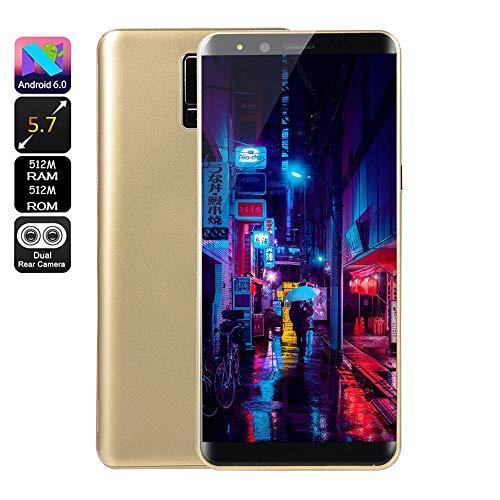Fulltime E-Gadget Smartphone, Neue Art und Weise 5,7 Zoll Doppel-HD Camera 512 MB RAM + 512 MB ROM,Android 6.0 IPS-VOLLER Schirm GSM/WCDMA-Touch Screen WiFi Bluetooth GPS 2G Anruf-Handy (Gold)