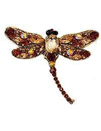 Cristales brillantes incrustados libélula gran tamaño grande broche Pin–ámbar color (en bolsa de organza)