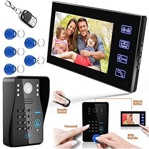 MOMAMO Video Türsprechanlage, Türklingel Gegensprechanlage System,7 Zoll Monitor mit Verdrahteter,Fernbedienung Türöffner und App,Sprechen und Anzeigen