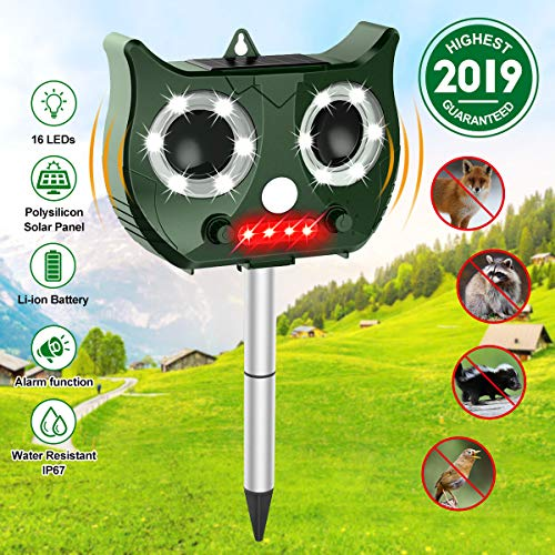 Solar Cat Repellent,OUTERDO Ultrasonic Rechargeable Animal Repeller Pet Deterrent Garden Flashing Light pest repeller,Motion Sensor and Waterproof-USB/Solar Battery Operated,for Yard/Lawn/Garden/Farm