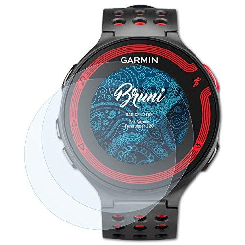 Bruni Película Protectora para Garmin Forerunner 220 Protector Película - 2 x claro Lámina Protectora de Pantalla