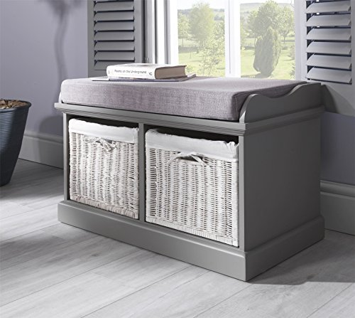 Tetbury Grey Bench with 2 White Baskets. Hallway storage bench with matching cushion seat. Very sturdy, FULLY ASSEMBLED