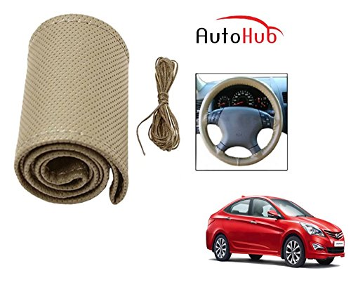 Auto Hub Premium Quality Car Steering Wheel Cover For Hyundai Verna Fluidic - Beige  available at amazon for Rs.225