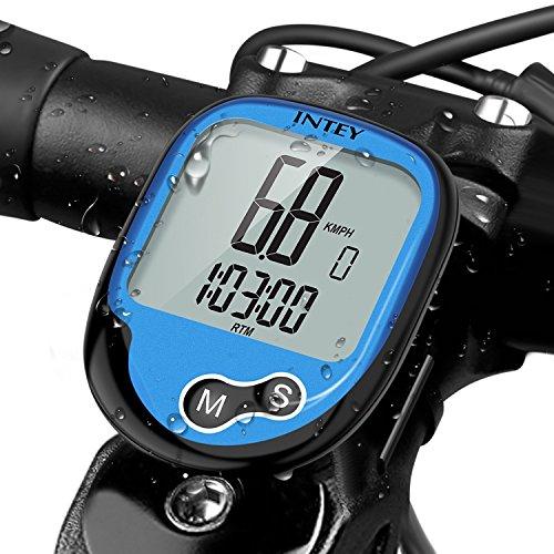 INTEY Fahrradcomputer Kabellos, Wasserdicht Drahtloser 12 Modi Fahrradtacho mit Hintergrundbeleuchtung LCD Display für Radsport Realtime Speed Track (Speed Track)