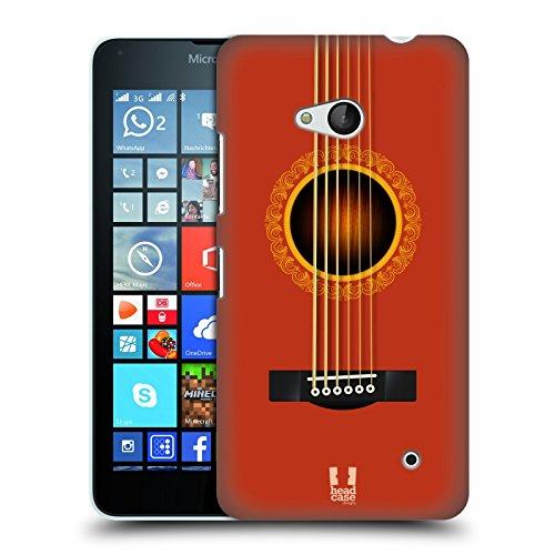 Head Case Designs Orange Akustikgitarre Ruckseite Hülle für Microsoft Lumia 640 / Dual SIM
