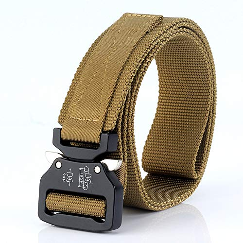 LLUFFY-Belt Unisex Belt Tactics, outside, nylon, canvas, buckle, quick release, brown wolf, 125 cm