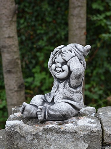 Lustiger kleiner Gnom II Troll Wichtel Fantasiefigur aus Steinguss frostfest - 4