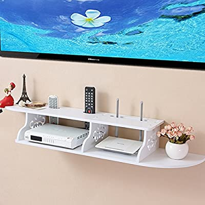 Tribesigns Modern Carved 2 Tier Wall Mount Floating Shelf Storage Rack for DVD Players / Cable Boxes / Games Consoles and TV Component, White - inexpensive UK light store.