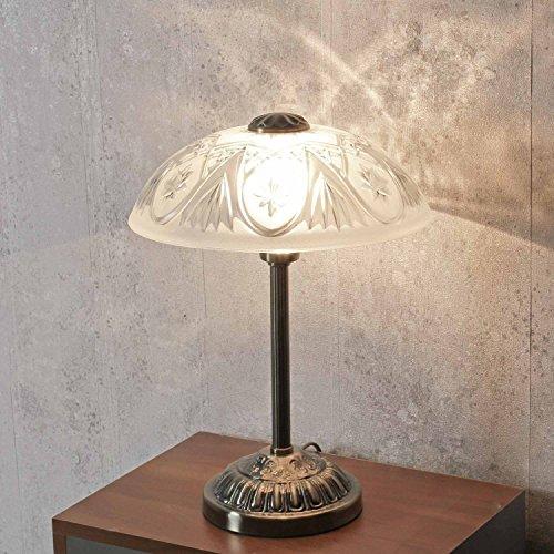 Hochwertige Tischlampe in Bronze Jugendstil inkl. 1x 3W E14 LED 230V Nachttischleuchte Metall & Glas für Wohnzimmer Schlafzimmer Beleuchtung