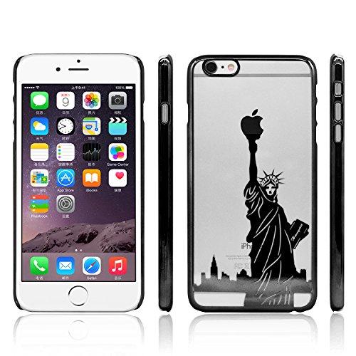iProtect Schutzhülle Apple iPhone 6, 6s (4,7'') Hülle Totenkopf Skull Star Design in schwarz Schwarz Freiheitsstatue