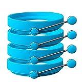 New Thinking - Anello per uova / stampo per pancake, in silicone Stampo per cottura pancake antiaderente, anello in silicone con manico, confezione da 4. Blue