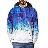 UJUNAOR Männer Sweatshirt Mit Kapuze 3D Ölgemälde Druck Hoodie Herbst Outdoor(Weiß,CN 2XL)