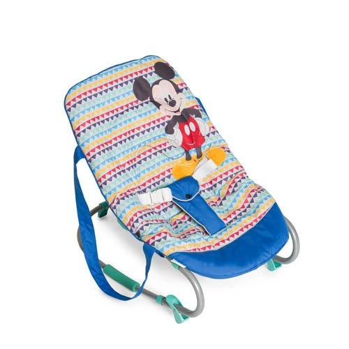 Hauck Rocky - hamacas bebes Disney/de 0 meses hasta 9 kg/funcion mecedora/respaldo ajustable, sistema de arnes y asas de transporte/Mickey Geo Blue (azul)