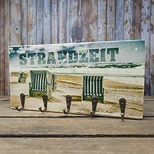elbPLANKE mit Haken - Strandzeit | 12x24 cm | Schlüsselbrett von Fotoart-Hamburg | mit 5 Antike Haken aus Holz (Kiefer/Fichte) - 100% Handmade