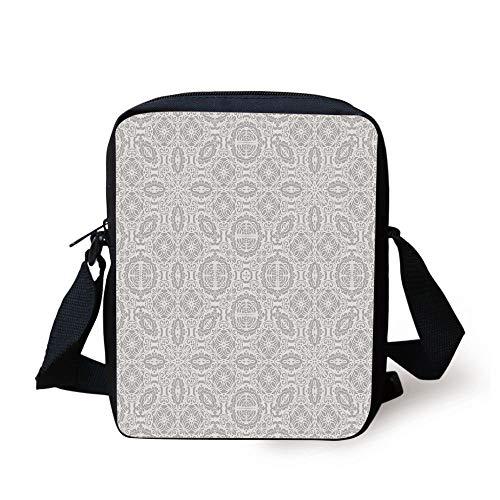 Grey Decor,Lace Victorian Damask Antique Baroque Design with Oriental Effects Renaissance Art,White Print Kids Crossbody Messenger Bag Purse -