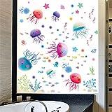 ZLYAYA Tapete,Wandtapete,Wand Dekoration,wandsticker,Cartoon Bad Unterwasserwelt Badezimmer Ocean Fischaufkleber Cute Quallen Wall Sticker Tapeten Fliesen Glas Aufkleber, 45 * 30 cm.