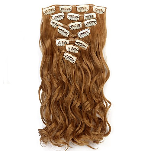 "Neverland Beauty 22"" Full Head Clip Extensión del pelo Hair Extensions , Wavy-7 Piece with 16 clips, Honey Blonde"