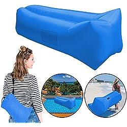 Inflable cama de aire de dormir tumbona, silla, resistente y portátil Blow Up silla de salón para interiores al aire libre Camping playa (traje para la marzoría de adultos), azul