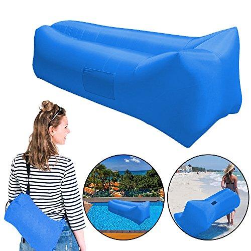 Aufblasbare Liege, Luftmatratze/Stuhl, beständig und tragbar, Liegestuhl für innen, außen, Camping, Strand, für die meisten Erwachsenen, blau