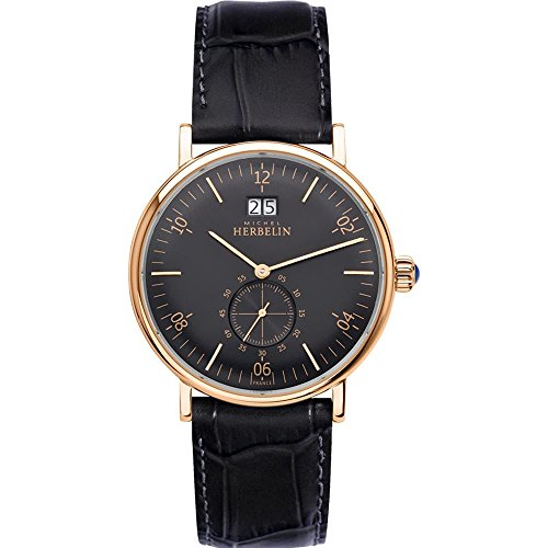 Michel Herbelin Men's Classic 40mm Black Leather Band Quartz Watch 18247/PR14
