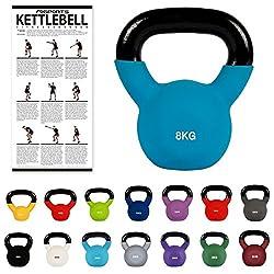 MSPORTS Kettlebell Neopren 2 - 30 kg inkl. Übungsposter (8 Kg - Blau) Kugelhantel