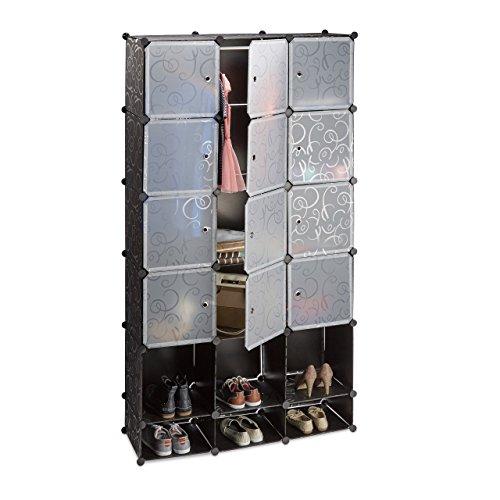 Relaxdays Kleiderschrank Stecksystem aus Kunststoff, Garderobe mit 2 Kleiderstangen, vielseitiges...