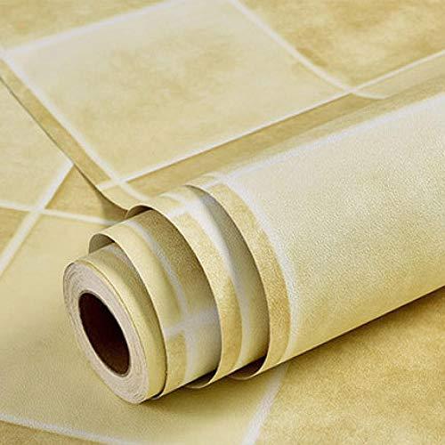 ACCEY rollo vinilo adhesivo Mosaik Küchen Tapeten Wasserdicht Vinyl selbstklebende Tapetenrolle für Küchenwände Decoration@Correl_Yellow_1.35